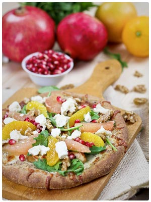 Citrus, Chicken and Goat Cheese Pizza