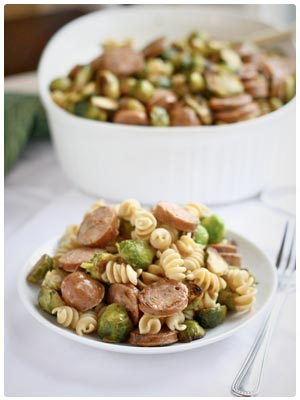 Roasted Brussels Sprout & Chicken Sausage Pasta