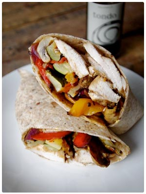 Roasted Vegetable and Balsamic Chicken Wrap