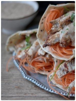 Sous Vide Thai Chicken Wraps with Peanut Satay