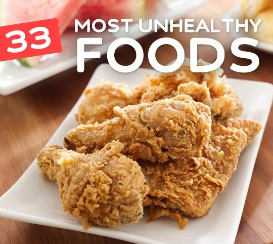 The 33 most unhealthy foods you should avoid. Everyone needs to read this! I didn't know just how bad some of these foods were for you.