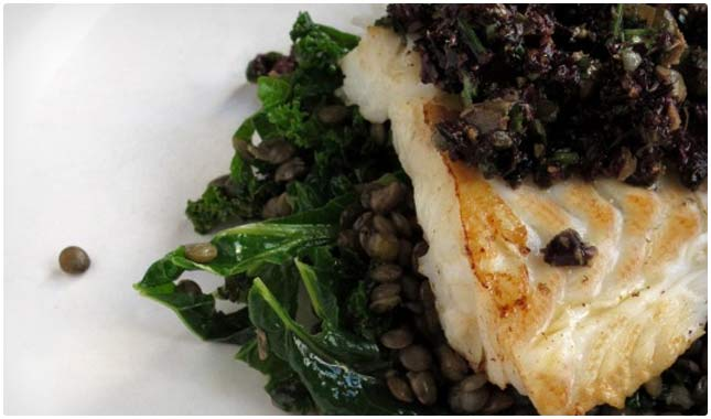 ... Fried Murray Cod with Baby Artichoke, Beluga Lentils and Glazed