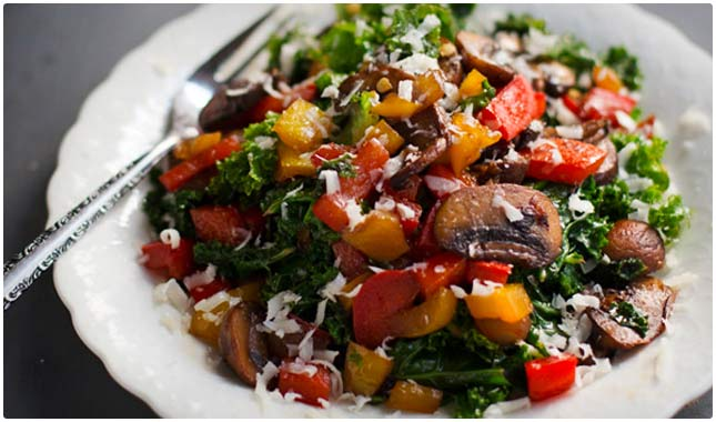 warm balsamic kale salad