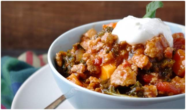 sweet potato and kale turkeychili