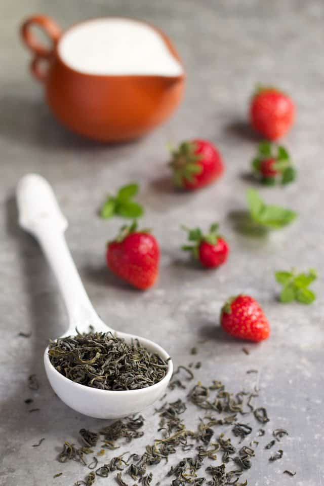 green tea and strawberries