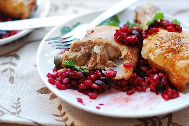 Roast Chicken with Pomegranate Chutney