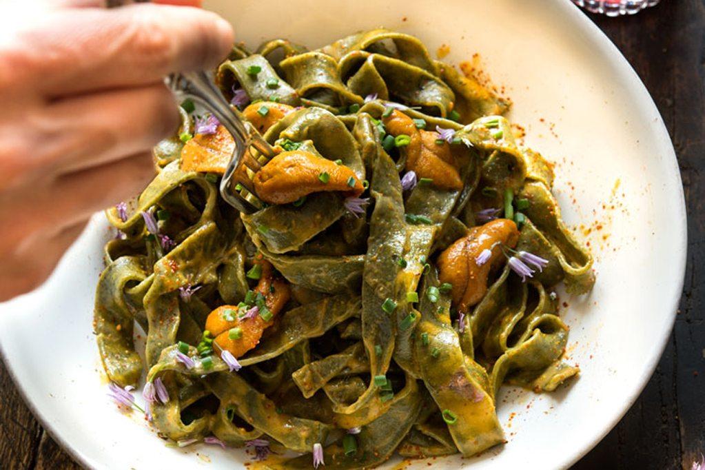 Seaweed Pasta With Uni