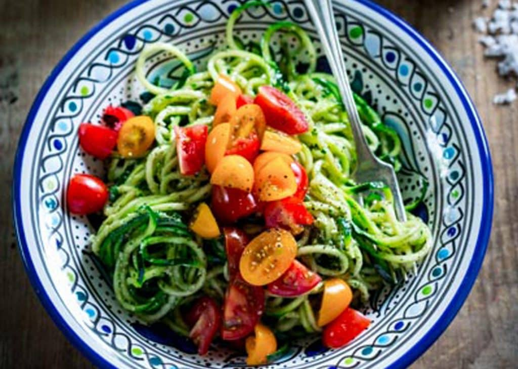 No-cook zucchini noodles with pesto