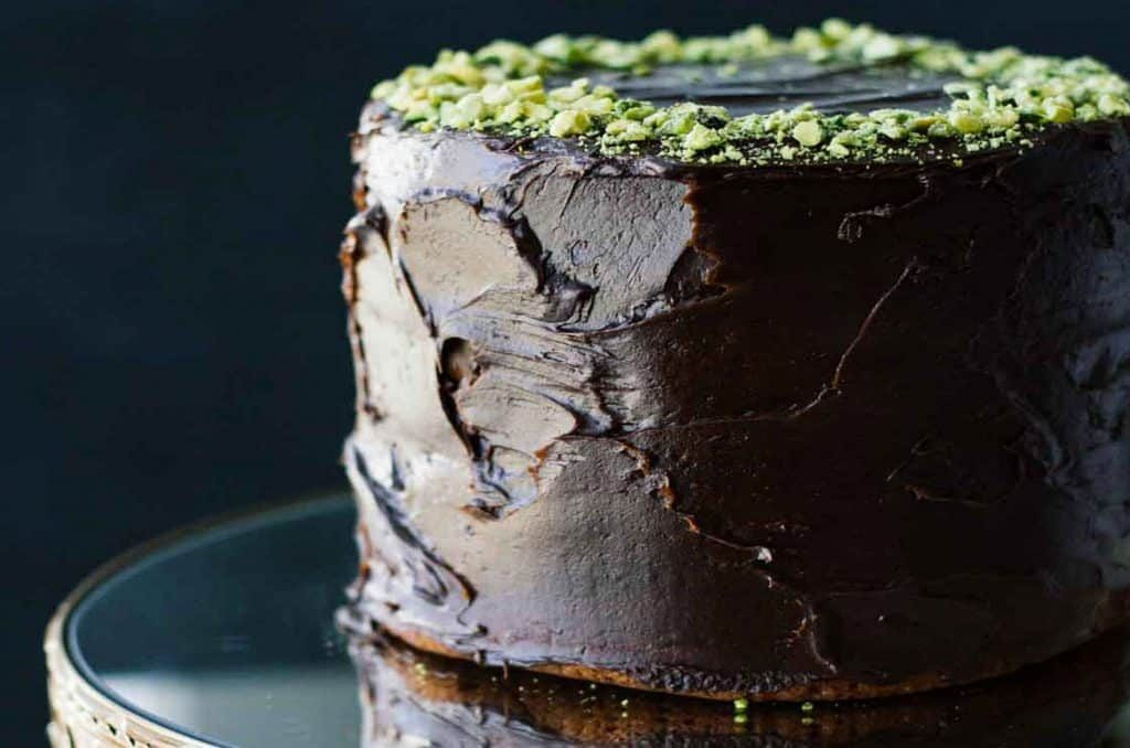 Healthy chocolate cake with tahini chocolate icing