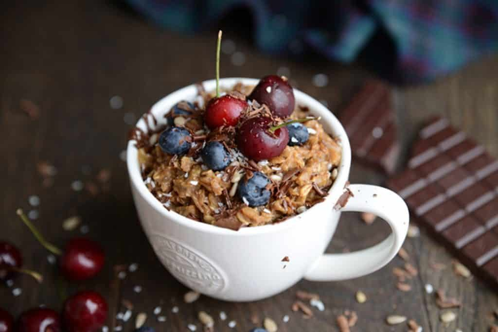 Coffee oatmeal with cherries