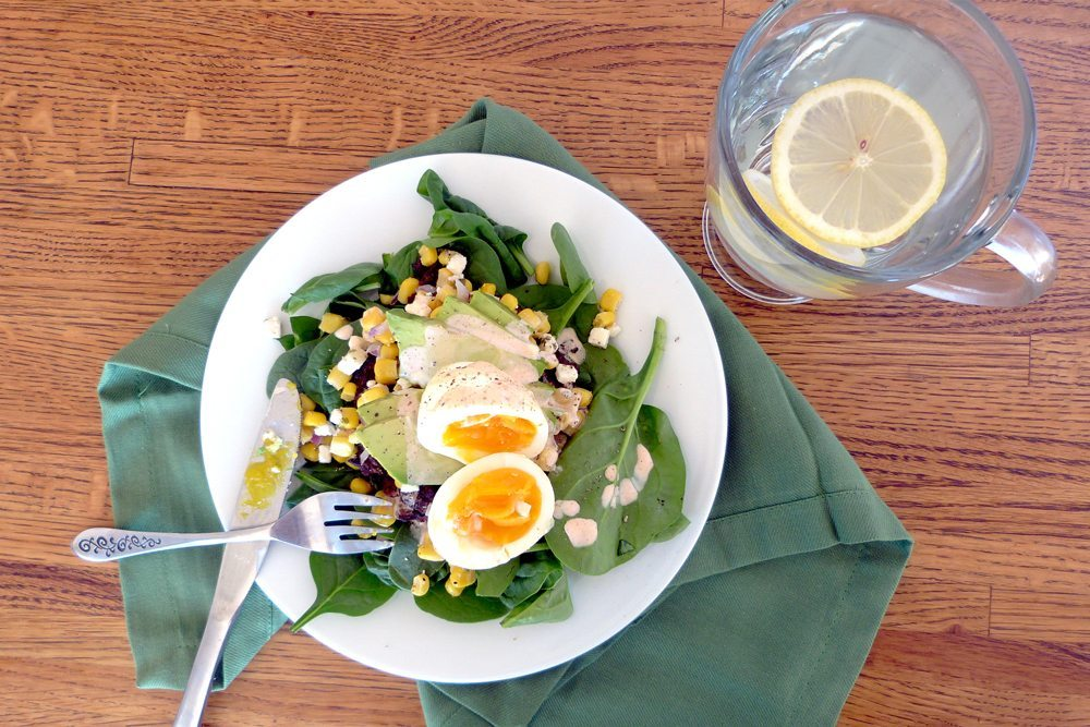 Egg bean and corn salad
