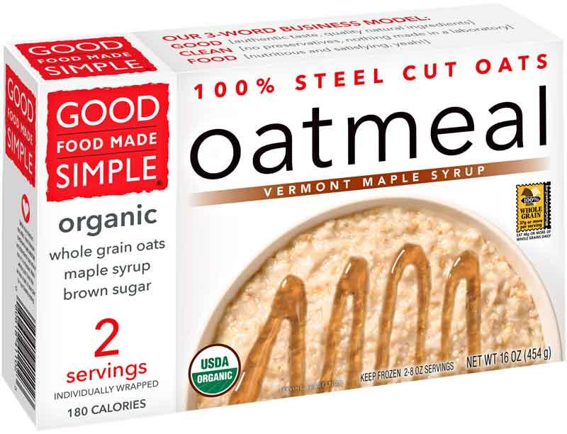 Good Food Made Simple Organic Vermont Maple Syrup Oatmeal Health Frozen Foods