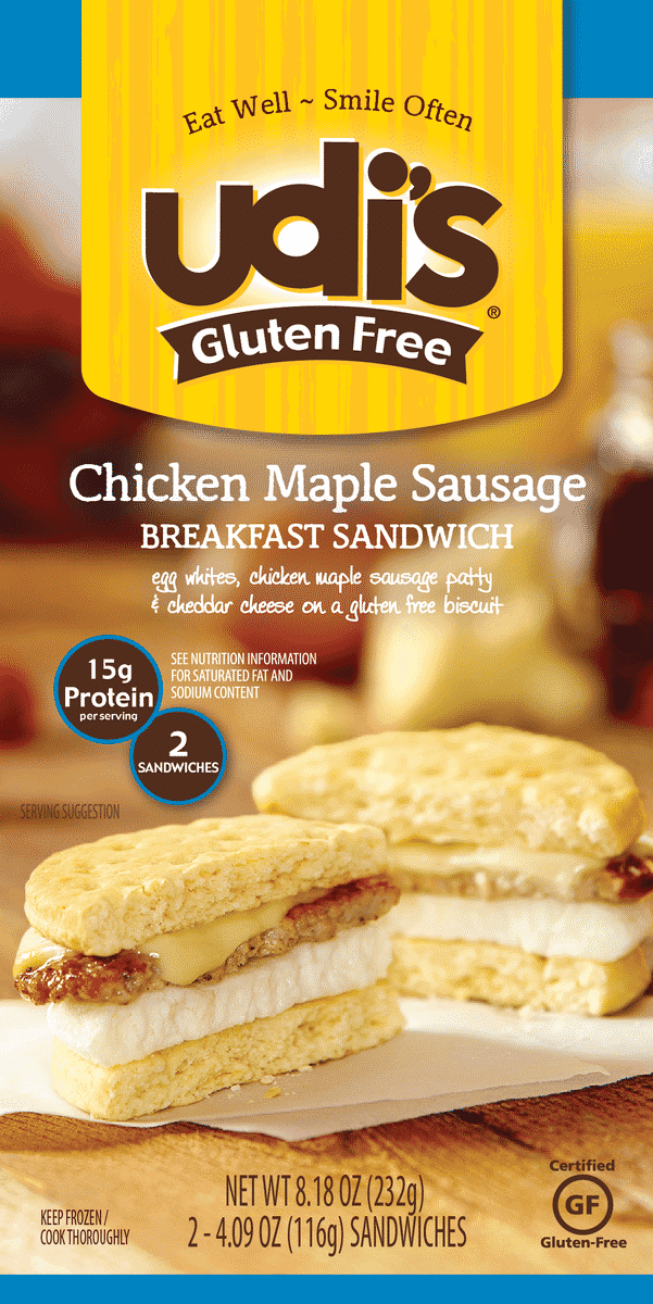 Udi Gluten-Free Chicken Maple Sausage Breakfast Sandwich Health Frozen Foods